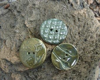 3 Textured Glazed Stoneware Buttons