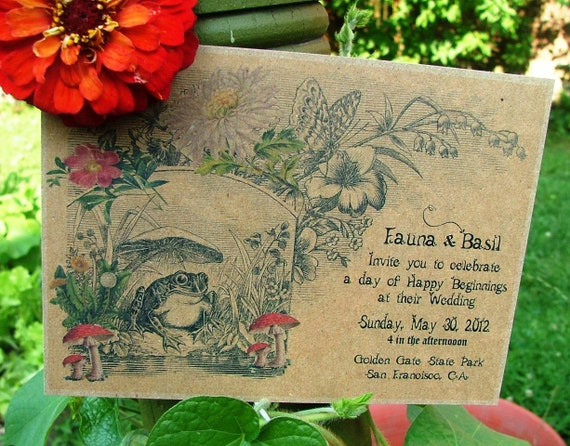 Recycled Wedding Invitations, Garden wedding invites, unique Woodland wedding invitation,  mushroom storybook