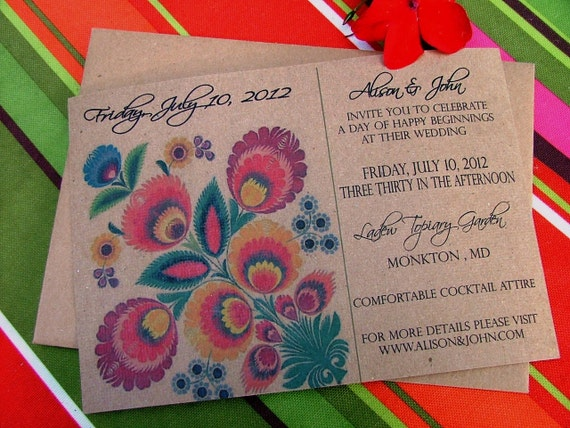 Colorful Wedding Invitation | Fabulous Folk, Mexican, Peruvian Textile Inspired Bright and Beautiful