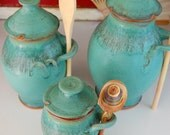 Kitchen Canister Set of Three in Turquoise - Made to Order