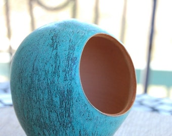 Salt Pig or Salt Cellar in Turquoise Unglazed on the Inside- Made to order