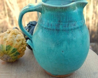 Large One Gallon Turquoise Pitcher - Made to Order