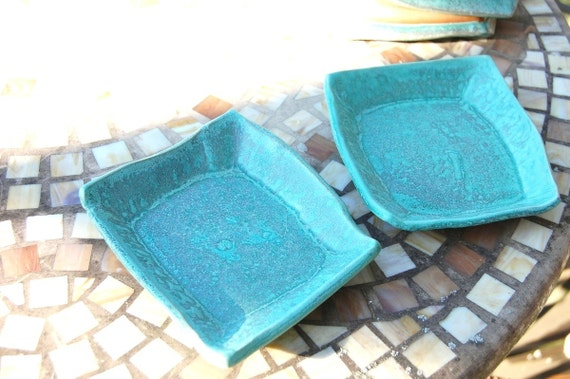 Dessert Plates in Turquoise- Set of Four-