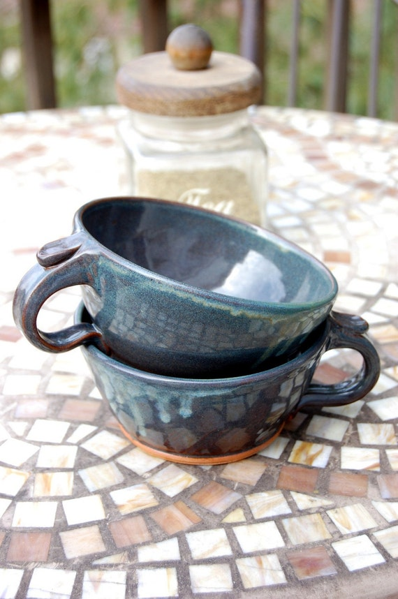 Set of Two Cappuccino Cups In Slate Blue