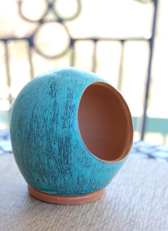 Salt Pig or Salt Cellar in Turquoise Unglazed on the Inside