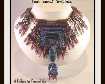 JUST UPDATED - Beading instructions Taos Sunset Necklace peyote stitch intermediate level tutorial pattern with fringe by Hannah Rosner