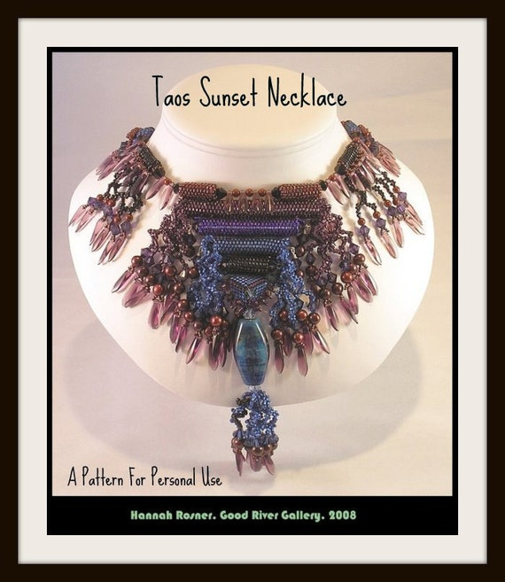 Beading instructions Taos Sunset Necklace peyote stitch tutorial pattern