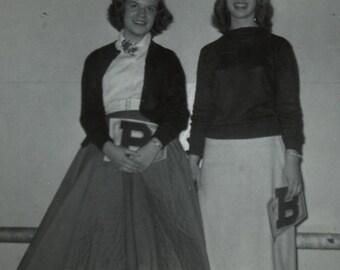 1950s Snapshot - High School Letter Girls - Girlfriends