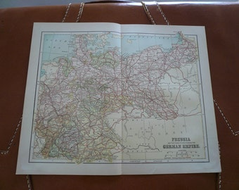 Map of Prussia and The German Empire 1890s ANTIQUE