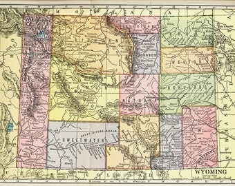 1903 State Map of Wyoming ANTIQUE