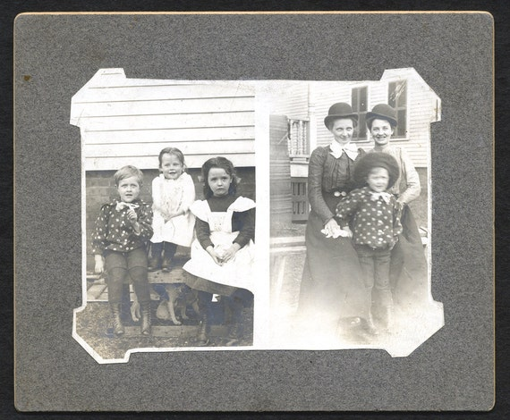 1910-1920  Photo - Women in Bowler Hats, Children in Pinafores and Polka Dots