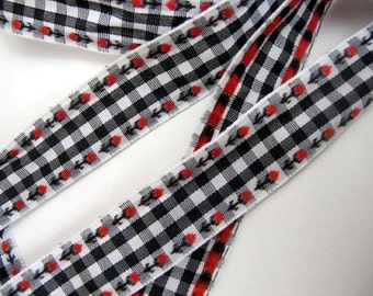 3 yards ROSEBUDS on GINGHAM Jacquard trim. Red on black and white. White edges.  3/4 inch wide. 875-A
