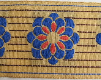 ZINNIA on PINSTRIPES embroidered fabric Jacquard trim in Royal Blue,orange,burgundy, on deep ecru. High end selection.. 2 inches wide. 911-B