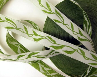 2 yards BEANSTALK narrow Jacquard trim with green leaves on white. 1/2 inch wide. 858-A
