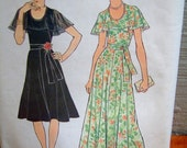 Vintage 1970's Capelet Dress Womens Retro Simplicity 7383 Dress Pattern Size 16 Size 16.5 Size Large Fluttery Dress Vintage Gown