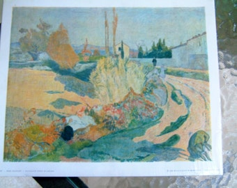 """Vintage 1950's Mid Century Print Artist French Paul Gauguin Paysage Pres D'Arles Print Post Impressionist Art about 9"""" by 11"""" Made in France"""