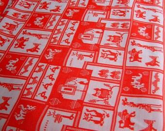 Vintage 1960's Animal Fabric Retro Owl Stretch Knit Fabric Children's Nursery Mod Circus Pixel Bright Cherry Red White