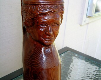 Vintage Folk Art Bust of Helen Keller Signed Tramp Art Rustic Sculpture Art Carved Log Sculpture Americana Folk Hero Sculpture Primitive Art