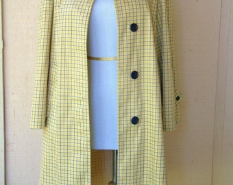Vintage 1960s Mod Coat Retro Yellow Navy Plaid Cotton Coat for Women Size Small to Medium Vintage Spring Duster Trenchcoat