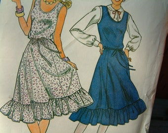 Vintage 1980s Summer Dress Pattern for Women in Size 6 Size 8 Size 10 Romantic Retro Butterick with Ruffles Ruffled