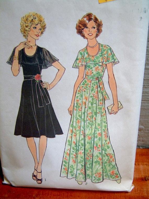 Vintage 1970s Capelet Dress Womens Retro Simplicity 7383 Dress Pattern Size 16 Size 16.5 Size Large Fluttery Dress Vintage Gown
