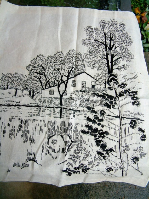 Black and White Landscape Art Scene of Embroidered Textile Wall Hanging from Mid Century 1950s 1960s