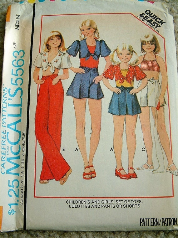 Vintage 1970s Girls Medium Girls Size 10 Girls Size 8 Summer Clothes Pattern McCalls 5563 Culottes Pattern Shorts Pattern Top Pattern
