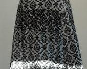 silkscreened summer wrap skirt - damask print, black & white, ultimate summer, travel, yoga, pregnancy essential