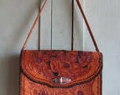 Vintage 1960's Ladies Purse  hand tooled leather purse, Floral, Roses, Folk Art Texana style Texas Southwest design retro Texan fashion