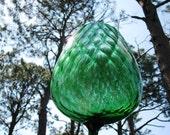 Emerald Green Glass stemware 1960's Vintage Art Glassware Blueish Bowl Vase, Teal, Retro 60's Home Decor, classic Mod style design 79b