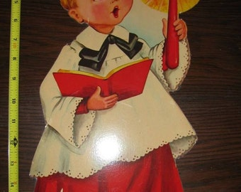 Vintage Card Board Choir Boy Wall Decor, Blonde Hair, Brown Eyed Choir Boy, Candle, Christmas Choir Boy, Religious, Catholic