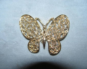 Vintage 80's Jewelry Butterfly Pin, Brooch, retro 1980's High Fashion Pin, delicate fashion design style nature lover Fashionista, Insect, B