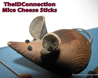 Vintage Mouse Party Cheese Sticks, Hordevoures Picks, Wooden Mouse, Mice, Mouse in the House, The Rat who ate the Cheese