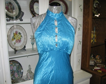 Ice Blue Evening Gown, Rhinestones, Elegant Party Dress, Ladies  Size 8, Theater Costume, Retro 1950's Costume, Kemah Texas