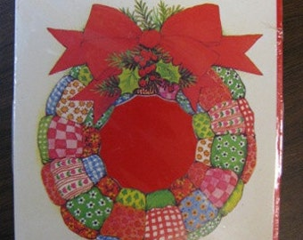 Vintage Drawing Board Christmas Party Invitations, Christmas Invitations, Wreath, Patchwork Wreath, Party Invite