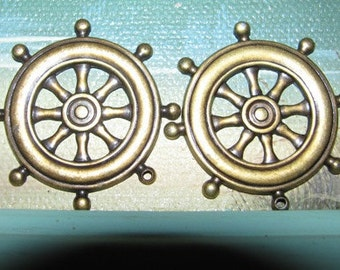 Vintage 1970's Costume Jewelry Ship's  Wheel Nautical Embellishments, Earrings, Pendant, Necklace Jeweler Supplies 15c