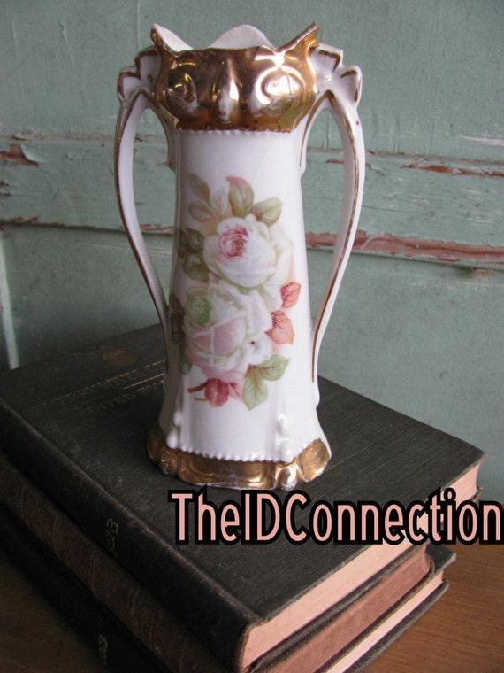 Vintage Floral Porcelain Vase, Victorian Flowers, Roses, Pinks, Gold, Ornate, Victorian, Circa, Flower Vase, Bud Vase