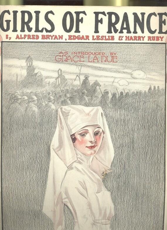 Girls of France WWI French Nurses circa 1914  1918 Sheet Music, cover art  Music artwork  World War Military Army Nurse Red Cross Medical