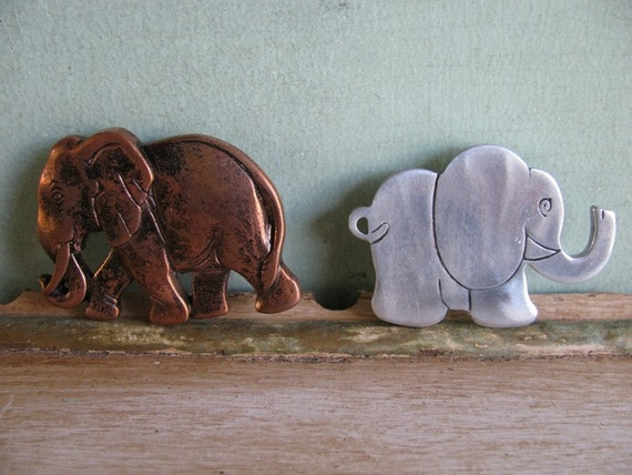 Antique Elephant Pins, Metal, Jewelry,  Elephant, Resin Cooper Color Elephant, Ornate, Lucky Elephant