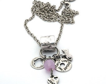 Long Silver Necklace for Love, Prosperity & Good Luck