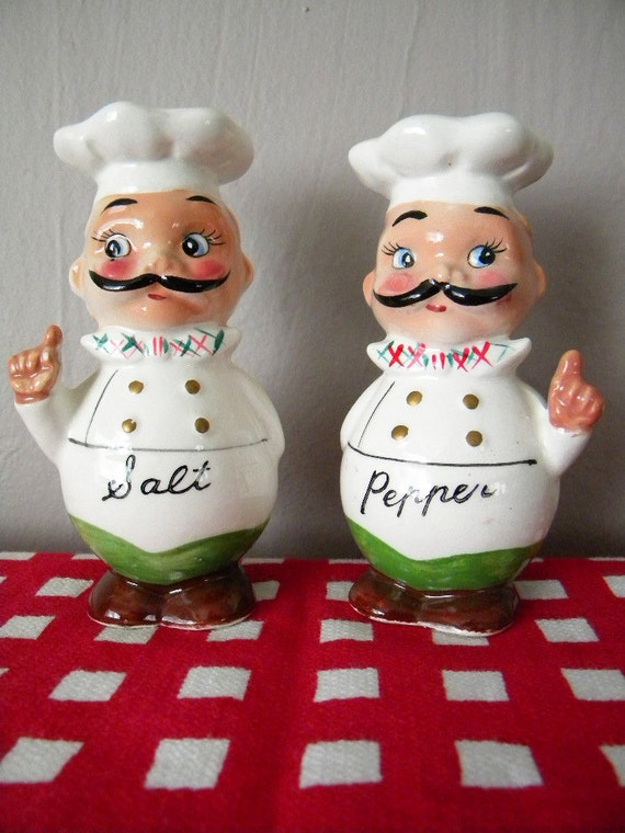 Vintage Chef Salt and Pepper Shakers by Sonsco