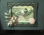 Laurel --  Vintage inspired Altered collage Art Handmade decorative keepsake Blue  trinket  box