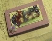 The Rabbit Den - Vintage inspired Easter Bunny Rabbit lilac handmade wooden art Magnet