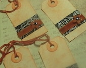 Classic Cobwebs- set of four Vintage inspired orange and black spiderweb Halloween gift tags
