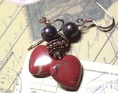 Damara - Red Agate, Copper, Glass and Dark Pearl handmade natural stone Heart Earrings