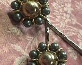 Ramona- Iridescent Forest Green and Gold vintage Button upcycled Bobby Pins