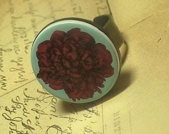 Red Peony Adjustable Brass Romantic Flower design Ring