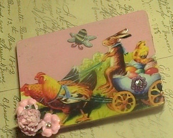 Spring Races- Vintage inspired Anthropomorphic Rabbits in Chicken drrwan carriage wooden  Magnet