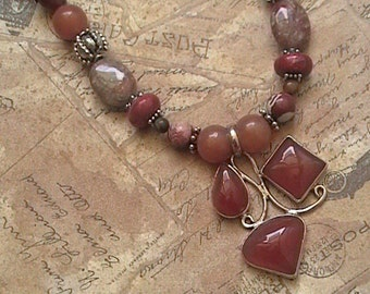 Scorpio Rising- Carnelian and Jasper Natural Stone OOAK handmade Boho Necklace with Abstract Pendant