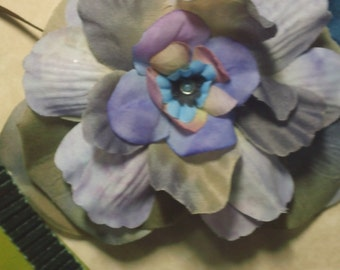 Claudette - Periwinkle blue and soft  violet art nouveau-inspired pin up fabric hair flower